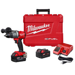 Milwaukee  M18 FUEL  18 volt 1/2 in. Brushless  Cordless Hammer Drill  Kit (Battery & Charger Includ