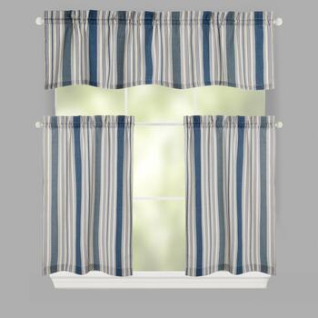 Traditions by Waverly® Blue/Green Stripes Rod Pocket Window Tier & Valance Set