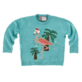 Christmas Flamingo Light-Up Teal Ugly Sweater view 1