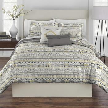 Gray/Gold Geo Tribal Comforter Set