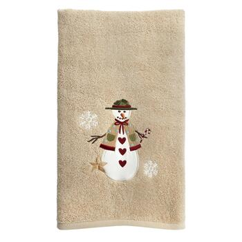 Tan Snowman Cotton Bath Towel