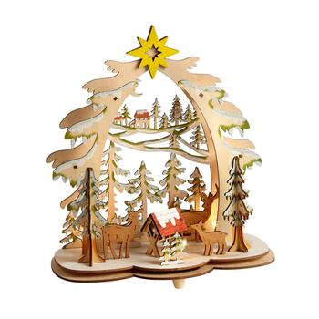 "11"" Forest Deer LED Cutout Wood Trees"
