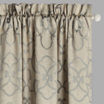 Gray Floral Ironwork Blackout Window Curtains, Set of 2 view 1