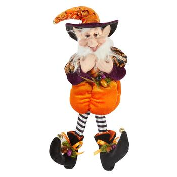 "13"" Purple Pumpkin Halloween Elf Jester"