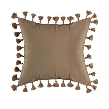 "18.5"" Solid Brown Fringe Indoor/Outdoor Square Throw Pillow"