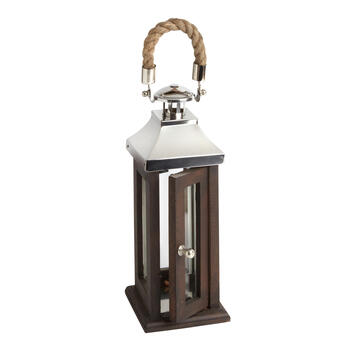"14"" Wood/Metal Lantern with Rope Handle view 1"
