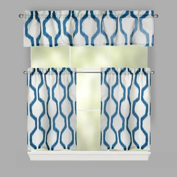 Dark Blue Hershel Window Tier & Valance Set