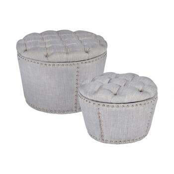 Gray Round Tufted Ottomans with Nailheads, Set of 2