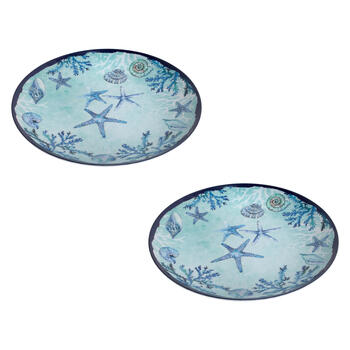Blue Starfish and Shells Round Melamine Platters, Set of 2 view 1