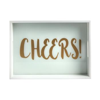 """Cheers"" White Serving Tray view 2"
