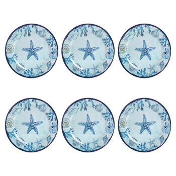 "10.5"" Blue Starfish and Shells Melamine Dinner Plates, Set of 6 view 1"