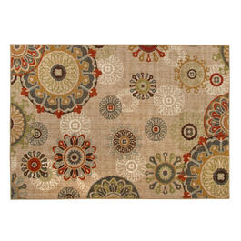 Beige Medallion Printed Loop Area Rug view 1