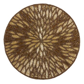 Gold Flower Round Beaded Placemat