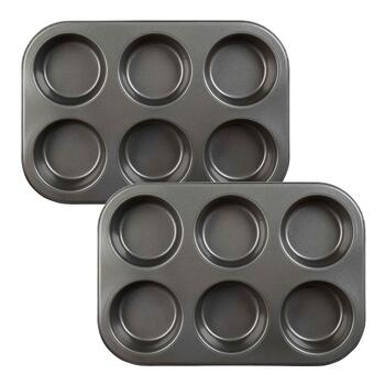 6-Cavity Texas Muffin Pans, Set of 2