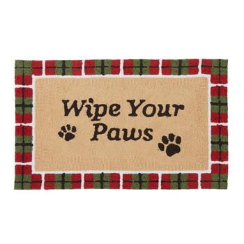 """Wipe Your Paws"" Plaid Border Hand-Hooked Door Mat"