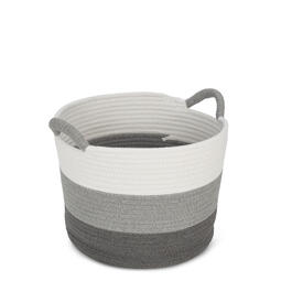 Gray White Striped Cotton Rope Soft Storage Bin view 1