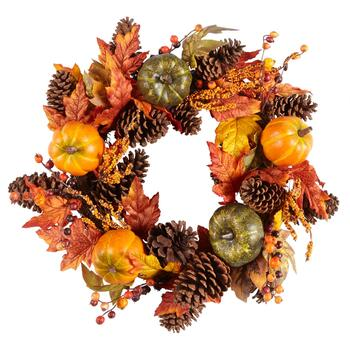 "22"" Green/Orange Pumpkins Faux Wreath"