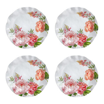 Pink Peony Scalloped Melamine Dinner Plates, Set of 4 view 1