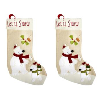 """Let It Snow"" Polar Bear Christmas Stockings, Set of 2"