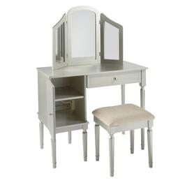 Silver Vanity Set with Power Outlet and Stool