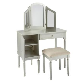 Vanity Set.Silver Vanity Set With Power Outlet And Stool