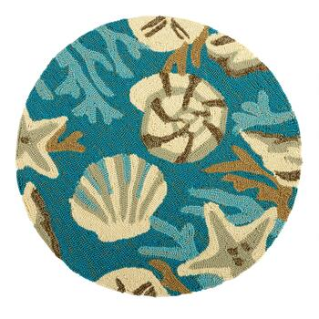 "27"" Teal Shells Hooked Round All-Weather Rug"