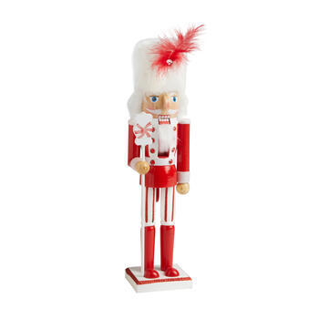 "15"" Red Candy Nutcracker with Feather Hat"