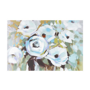 "24""x36"" White/Blue Florals Canvas Wall Art view 1"