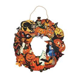 "19.5""x25"" Orange Retro Halloween Icons Wreath"