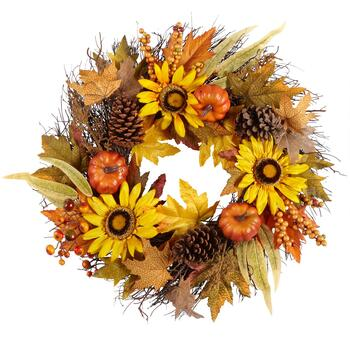 "22"" Yellow Sunflowers and Pumpkins Faux Wreath"