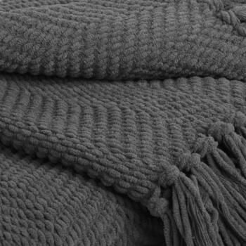 Solid Chunky Fringe Knitted-Style Throw Blanket view 2