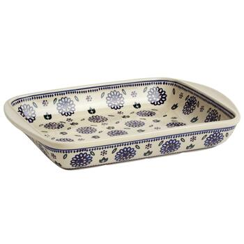 Polish Pottery Geometric Flowers Rectangular Serving Tray