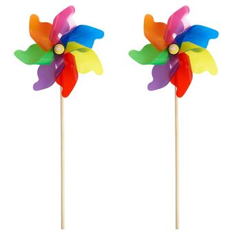 "29"" Rainbow Garden Pinwheels, Set of 2"