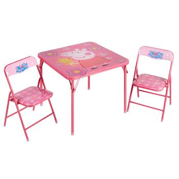 Pleasant Peppa Pig Childrens Folding Table And Chairs Set 3 Piece Andrewgaddart Wooden Chair Designs For Living Room Andrewgaddartcom