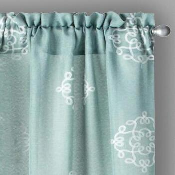 "84"" Embroidered Medallion Window Curtains, Set of 2"