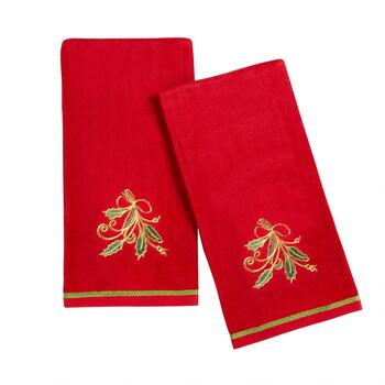 Famous Maker Holly and Ribbon Kitchen Towels, Set of 2