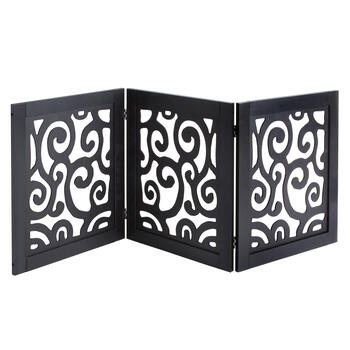 Black Scroll Folding Wood Gate view 1