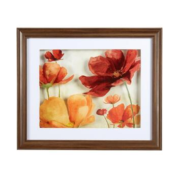 "16""x19"" Layered Red and Orange Flowers Framed Wall Art"