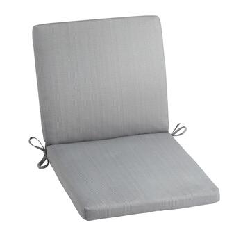 Solid Gray Indoor/Outdoor Mid-Back Chair Pad