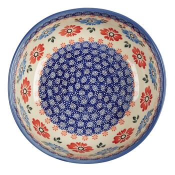Polish Pottery Blue/Red Floral Large Mixing Bowl view 2