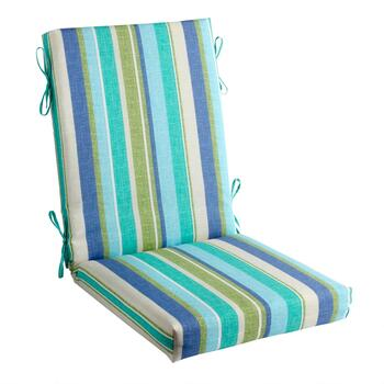 Green/Blue Striped Indoor/Outdoor Hinged Chair Pad