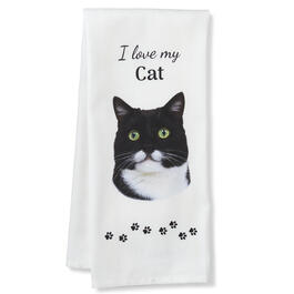 I Love My Black & White Cat Kitchen Towel view 1