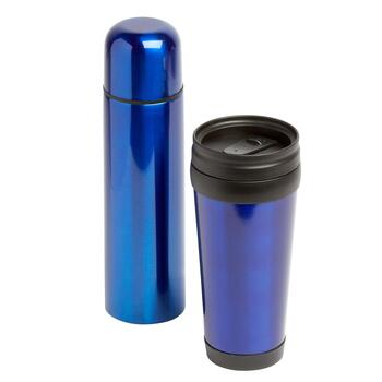 Double Wall Insulated Travel Mug and Thermos Gift Set