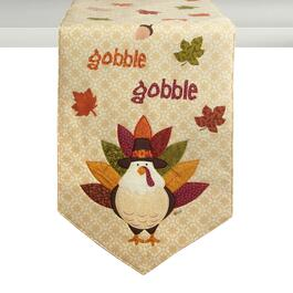 """Gobble Gobble"" Turkey Cotton Table Runner"
