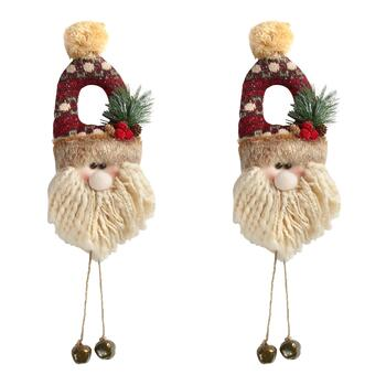 Plush Santa Door Hangers with Bells, Set of 2