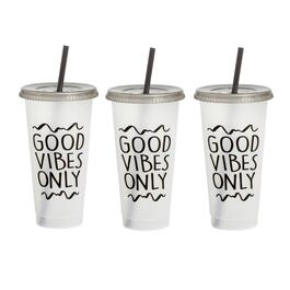 "7"" ""Good Vibes Only"" Tumbler To-Go Cups, Set of 6"