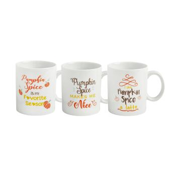 """Pumpkin Spice"" Mugs, Set of 3"