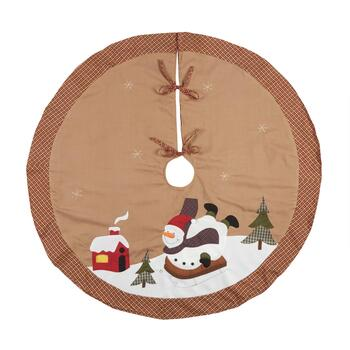Plaid Sledding Snowman Applique Tree Skirt
