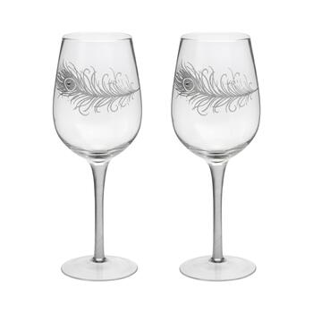Peacock Feather Bedazzled Wine Glasses, Set of 2