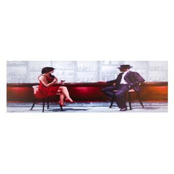 "18""x55"" Abstract Bar Couple Canvas Wall Art"